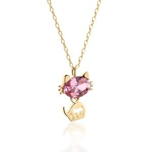 Jewelry - Pink Cat Zircon Gold Plated Silver Necklace